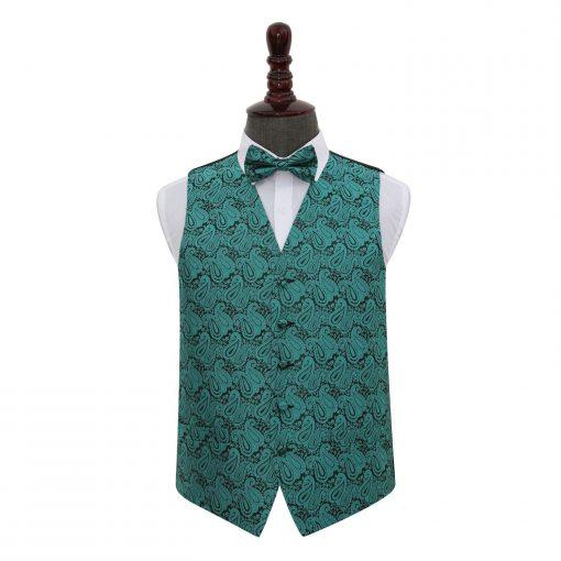 Teal Paisley Wedding Waistcoat & Bow Tie Set