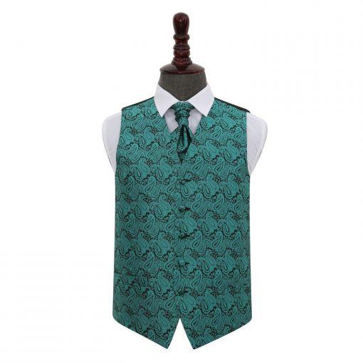 Teal Paisley Wedding Waistcoat & Cravat Set