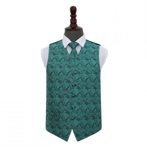 Teal Paisley Wedding Waistcoat & Tie Set