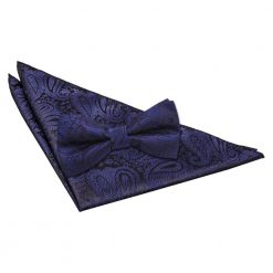 Navy Blue Paisley Bow Tie & Pocket Square Set