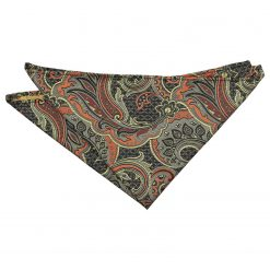 Apricot Orange Palm Paisley Pocket Square