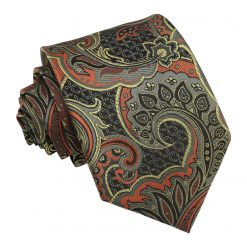 Apricot Orange Palm Paisley Modern Classic Tie