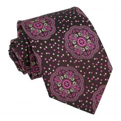 Carnation Pink and Yellow Peony Paisley Modern Classic Tie