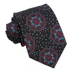 Red and Ocean Blue Peony Paisley Modern Classic Tie