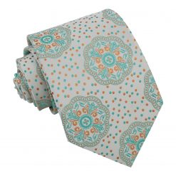 Soft Mint Green Peony Paisley Modern Classic Tie