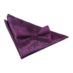 Purple Paisley Bow Tie & Pocket Square Set