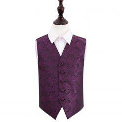 Purple Paisley Wedding Waistcoat for Boys