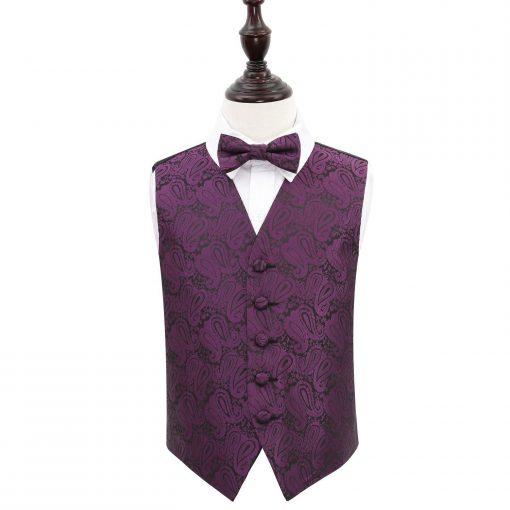 Purple Paisley Wedding Waistcoat & Bow Tie Set for Boys