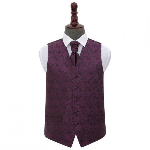 Purple Paisley Wedding Waistcoat & Cravat Set