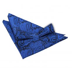Royal Blue Paisley Bow Tie & Pocket Square Set