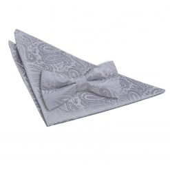 Silver Paisley Bow Tie & Pocket Square Set