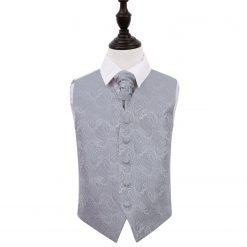 Silver Paisley Wedding Waistcoat & Cravat Set for Boys