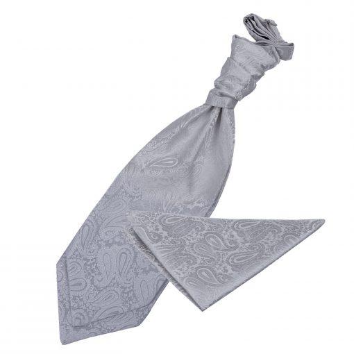 Silver Paisley Wedding Cravat & Pocket Square Set