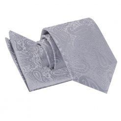 Silver Paisley Tie & Pocket Square Set