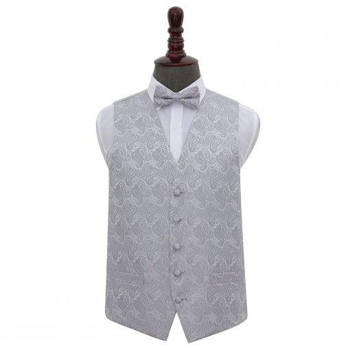 Silver Paisley Wedding Waistcoat & Bow Tie Set