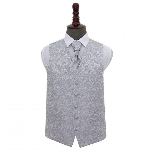 Silver Paisley Wedding Waistcoat & Cravat Set