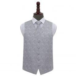 Silver Paisley Wedding Waistcoat & Tie Set