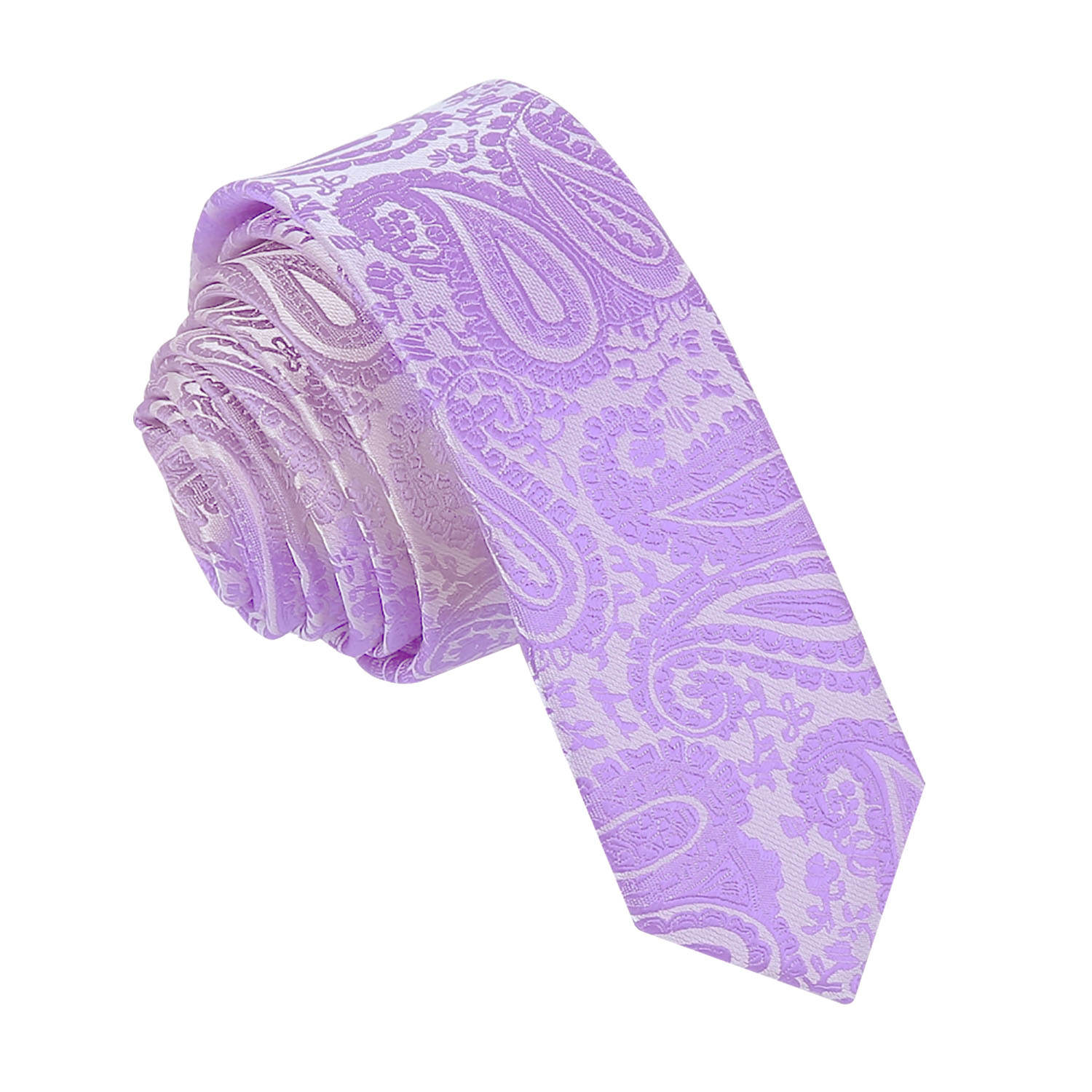 Lilac Paisley Skinny Boys Tie Childrens Tie Kids Tie Wedding Tie