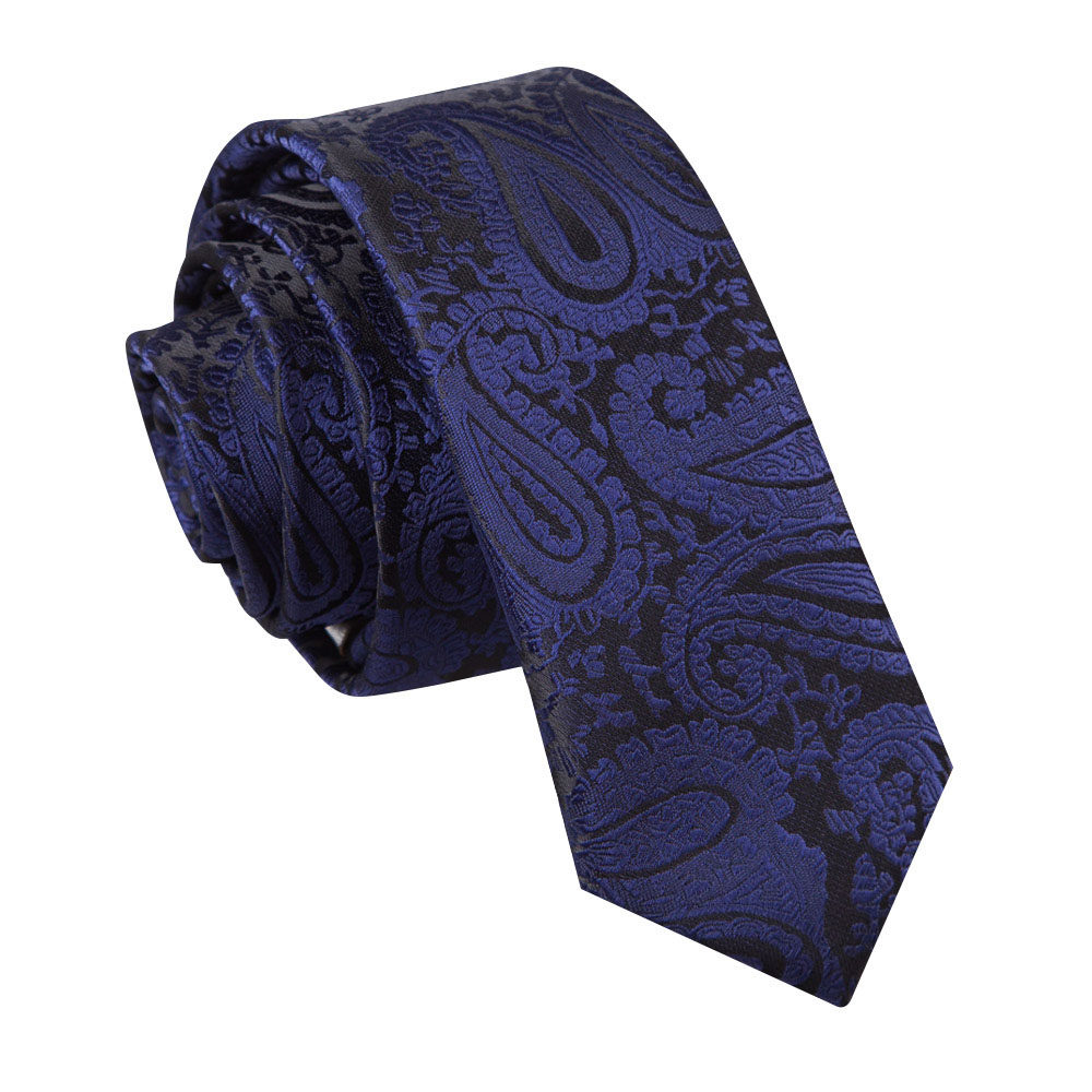 0c479b4d4ee6 DQT Woven Floral Paisley Navy Blue Formal Wedding Mens Skinny Tie ...