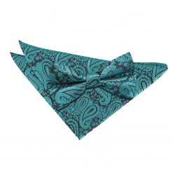 Black & Red Paisley Bow Tie & Pocket Square Set