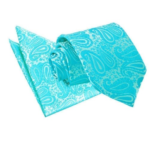 Turquoise Paisley Tie & Pocket Square Set