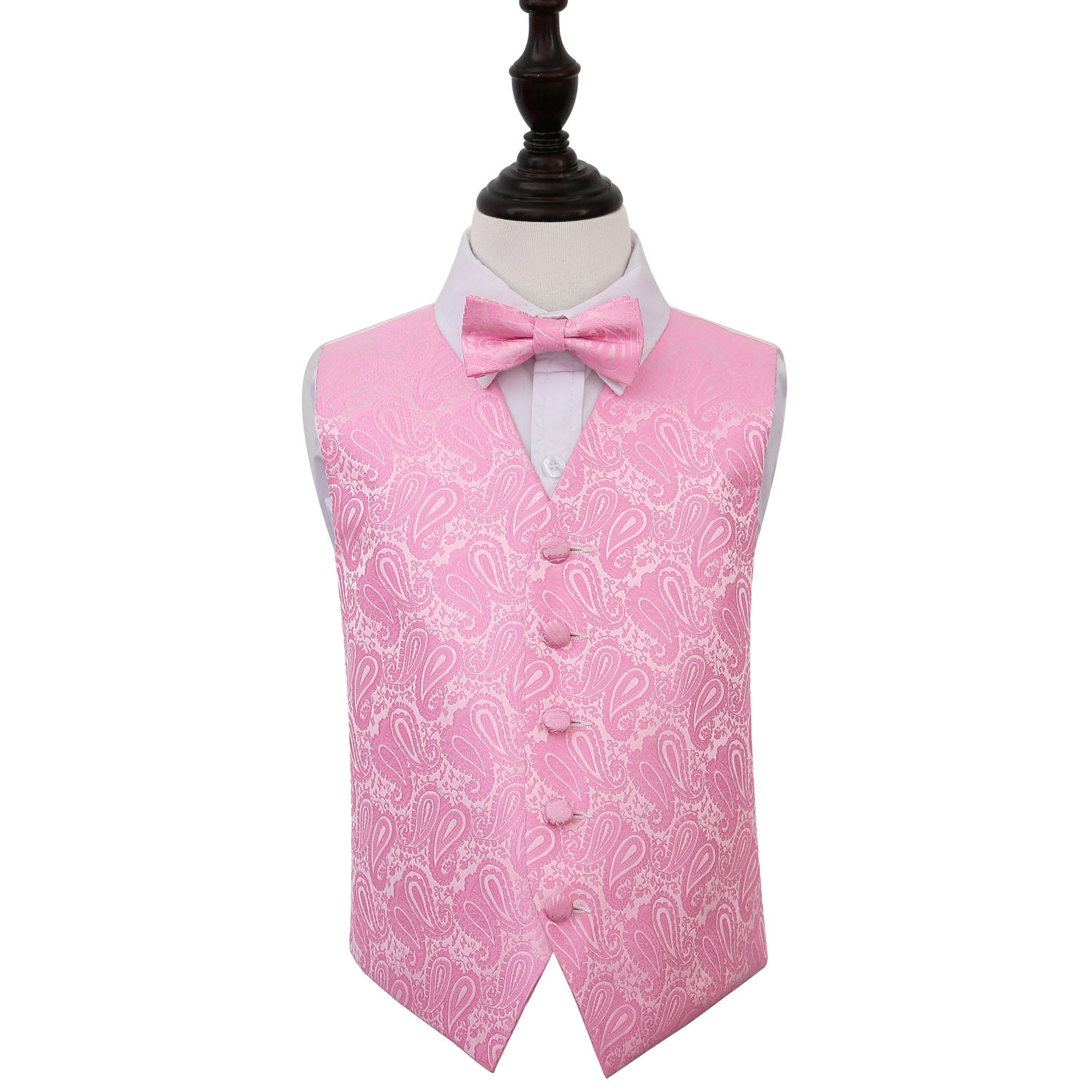 Image of Boy's Paisley Baby Pink Wedding Waistcoat & Bow Tie Set 22""