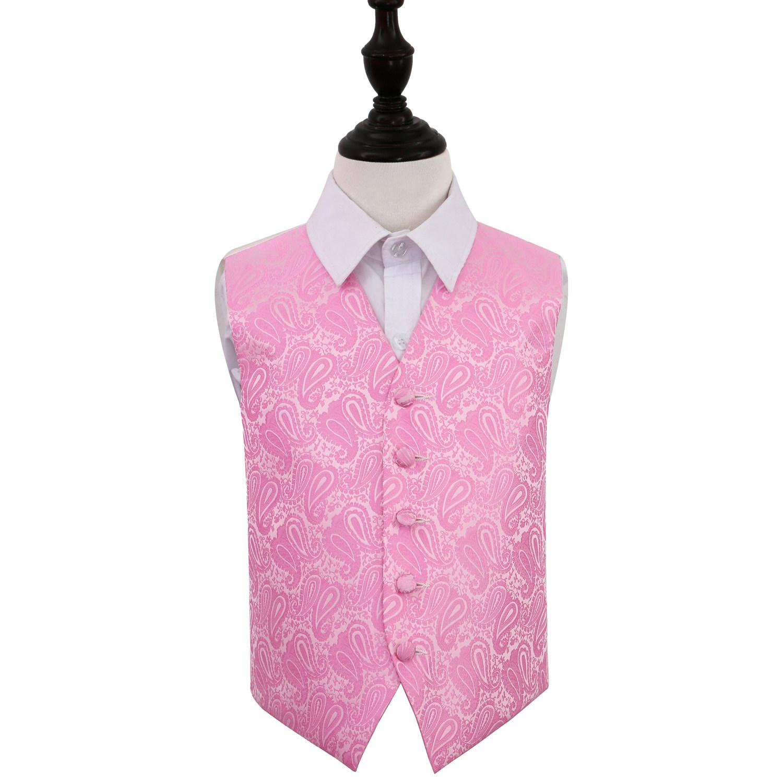 """Image of Boy's Paisley Baby Pink Wedding Waistcoat 22"""""""