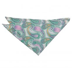 Mint Green Willow Paisley Pocket Square