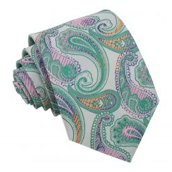 Mint Green Willow Paisley Modern Classic Tie