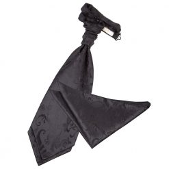 Black Floral Wedding Cravat & Pocket Square Set