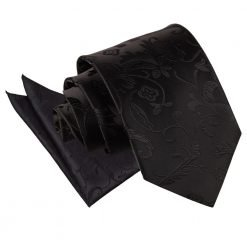 Black Floral Tie & Pocket Square Set