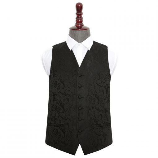Black Floral Wedding Waistcoat