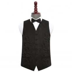 Black Floral Wedding Waistcoat & Bow Tie Set