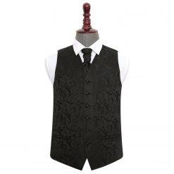 Black Floral Wedding Waistcoat & Cravat Set