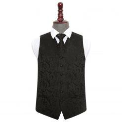 Black Floral Wedding Waistcoat & Tie Set
