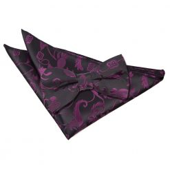 Black & Purple Floral Bow Tie & Pocket Square Set