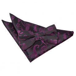 Black & Purple Floral Bow Tie & Pocket Square Set