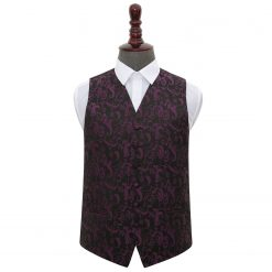 Black & Purple Floral Wedding Waistcoat