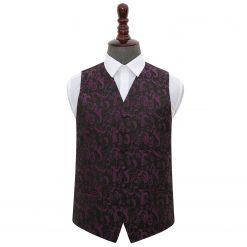 Black & Purple Floral Wedding Waistcoat