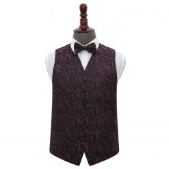 Black & Purple Floral Wedding Waistcoat & Bow Tie Set