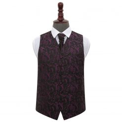 Black & Purple Floral Wedding Waistcoat & Cravat Set