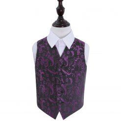 Black & Purple Floral Wedding Waistcoat for Boys