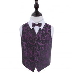 Black & Purple Floral Wedding Waistcoat & Bow Tie Set for Boys