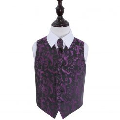 Black & Purple Floral Wedding Waistcoat & Cravat Set for Boys