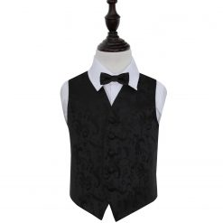 Black Floral Wedding Waistcoat & Bow Tie Set for Boys