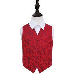 Burgundy Floral Wedding Waistcoat for Boys