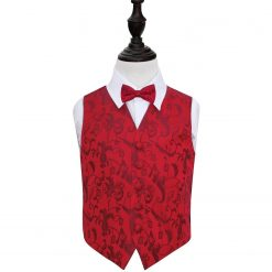 Burgundy Floral Wedding Waistcoat & Bow Tie Set for Boys