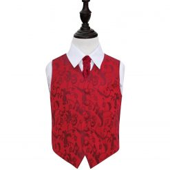 Burgundy Floral Wedding Waistcoat & Cravat Set for Boys