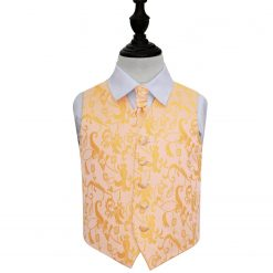 Gold Floral Wedding Waistcoat & Cravat Set for Boys