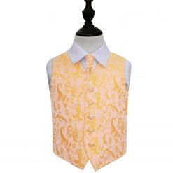 Gold Floral Wedding Waistcoat & Cravat Set for Boys